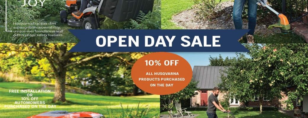 HUSQVARNA OPEN DAY SALE – 10% off all Husqvarna Garden Products