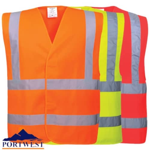 HI-VIS TWO BAND BRACE VEST Portwest macroom tool hire and sales