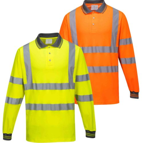 portwest cotton comfort hi visibility long sleeve polo shirt macroom tool hire and sales orange and yellow