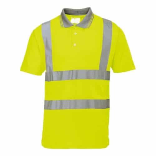 portwest hi visibility short sleeve polo shirt macroom tool hire and sales yellow